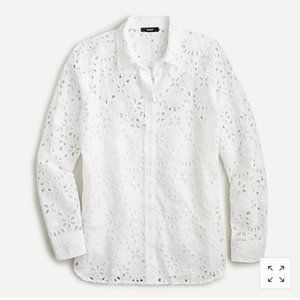 Button up down shirt embroidered eyelet 2 XS NEW
